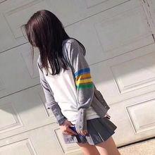 2018秋季新款韩版TB彩色四条杠袖子针织开衫条纹灰色针织毛衣女