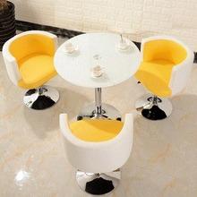 。小圓桌鋼化玻璃三件套洽談桌椅組合圓形接待桌陽臺桌子簡約休閑