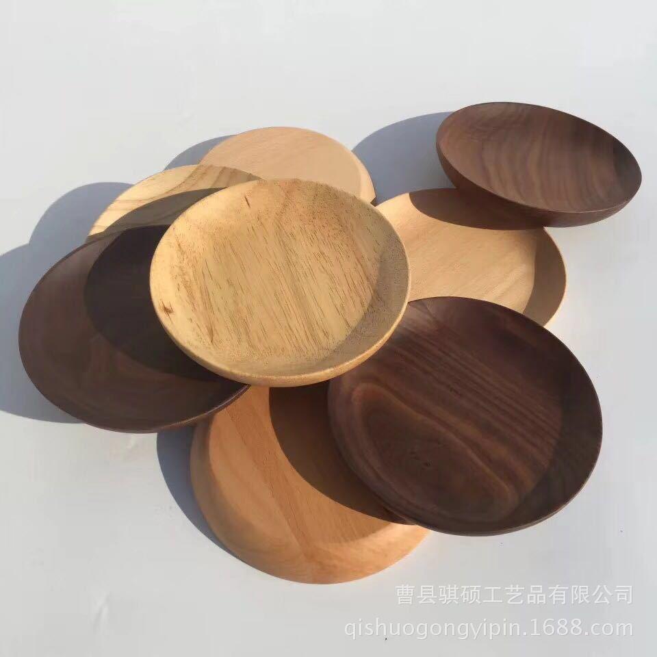 创意水果盘日式客厅面包点心盘子木质圆形托盘 木质茶盘可定制批