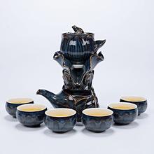 臻品 时来运转荷花半全自动茶具套装懒人复古创意功夫冲泡茶器
