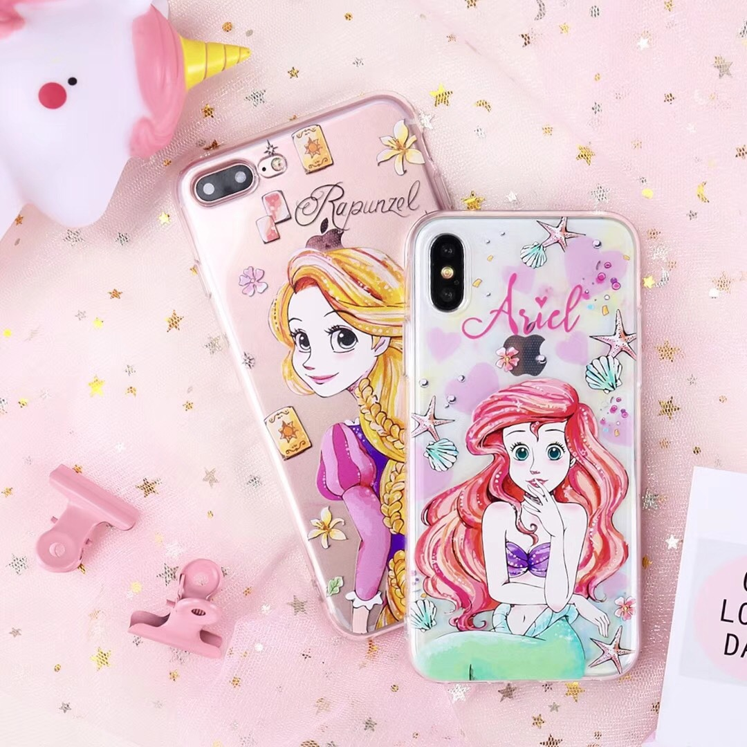 Mermaid long hair princess iPhone x/7/8plus mobile phone shell Apple seven all-inclusive tpu soft shell girl models