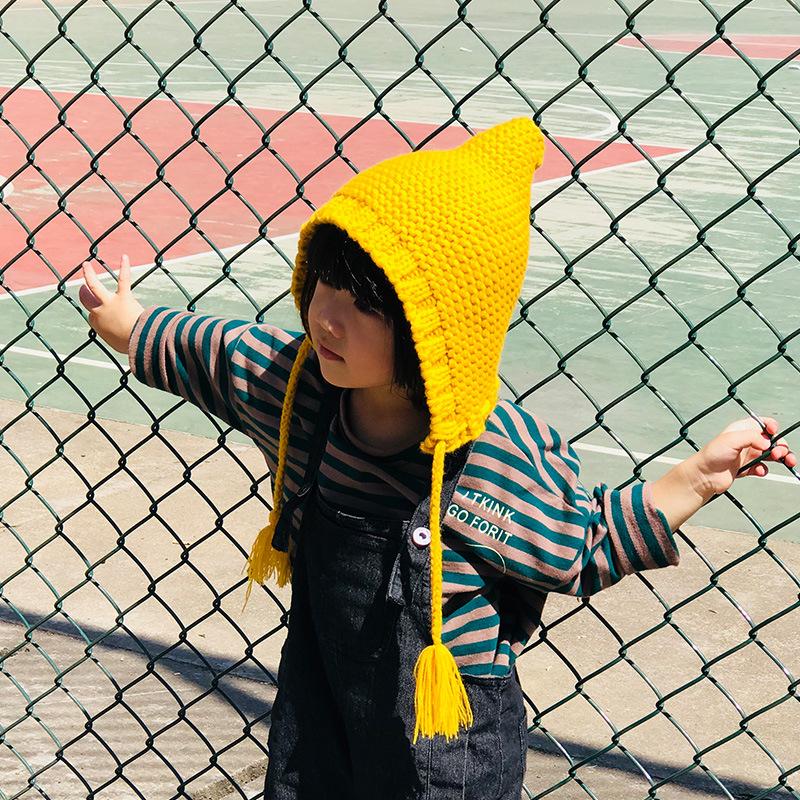 秋冬款女宝宝婴儿毛线帽女童针织帽儿童套头帽子3-6岁百搭帽子潮