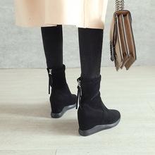 短靴女內增高2019新款加絨靴子坡跟后拉鏈馬丁靴女黑色絨面棉鞋冬