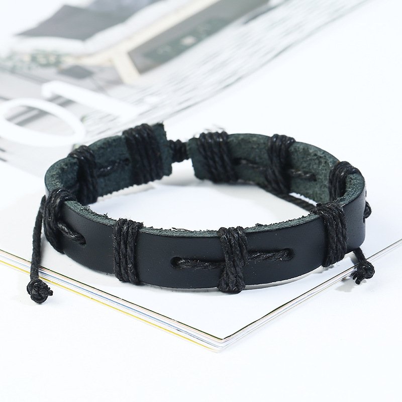 Leather Fashion Geometric bracelet  (Six-piece set) NHPK2185-Six-piece-set