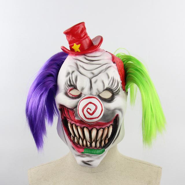 万圣节红帽小丑外贸亚马逊酒吧舞会道具搞怪乳胶面具批发