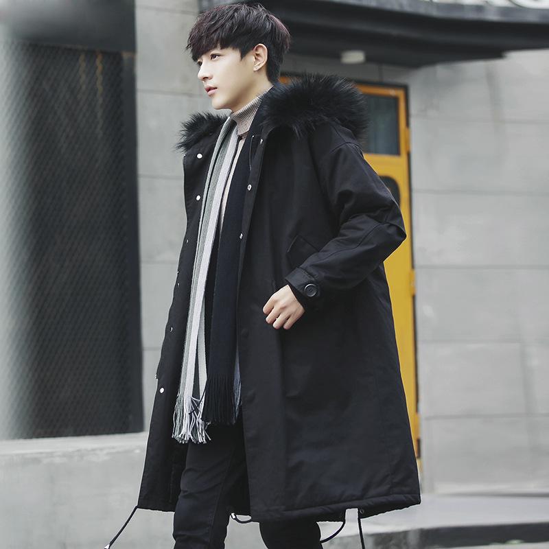 2018冬季新款男士外套棉衣中长款加厚连帽棉服韩版潮流棉袄536
