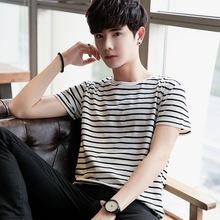 新品黑白条纹上衣男装假二件短袖T恤韩版修身空白广告衫打底衫