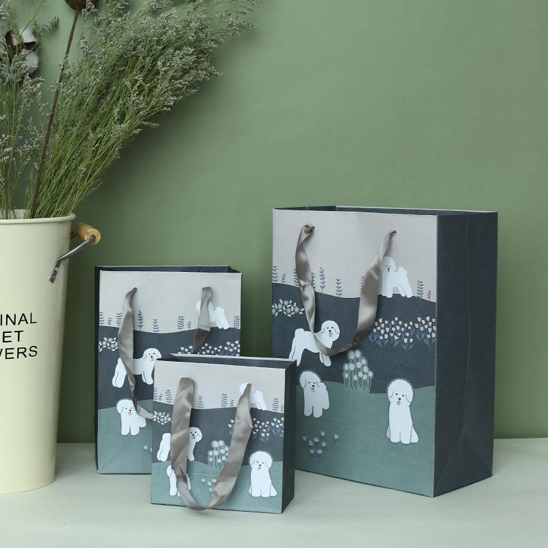 廠家包裝盒定做定制卡通小狗兒童節寵物圖案禮袋手提袋紙袋