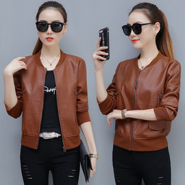 Leather women's short spring and autumn new slim, stylish, casual PUF jacket, small jacket, leather jacket.