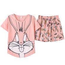 韓版夏季短袖睡衣女士棉質卡通可愛短袖短褲可外穿家居服套裝批發