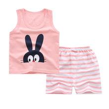 18新款儿童夏季背心套装 婴幼儿纯棉无袖背心两件套宝宝短裤夏装