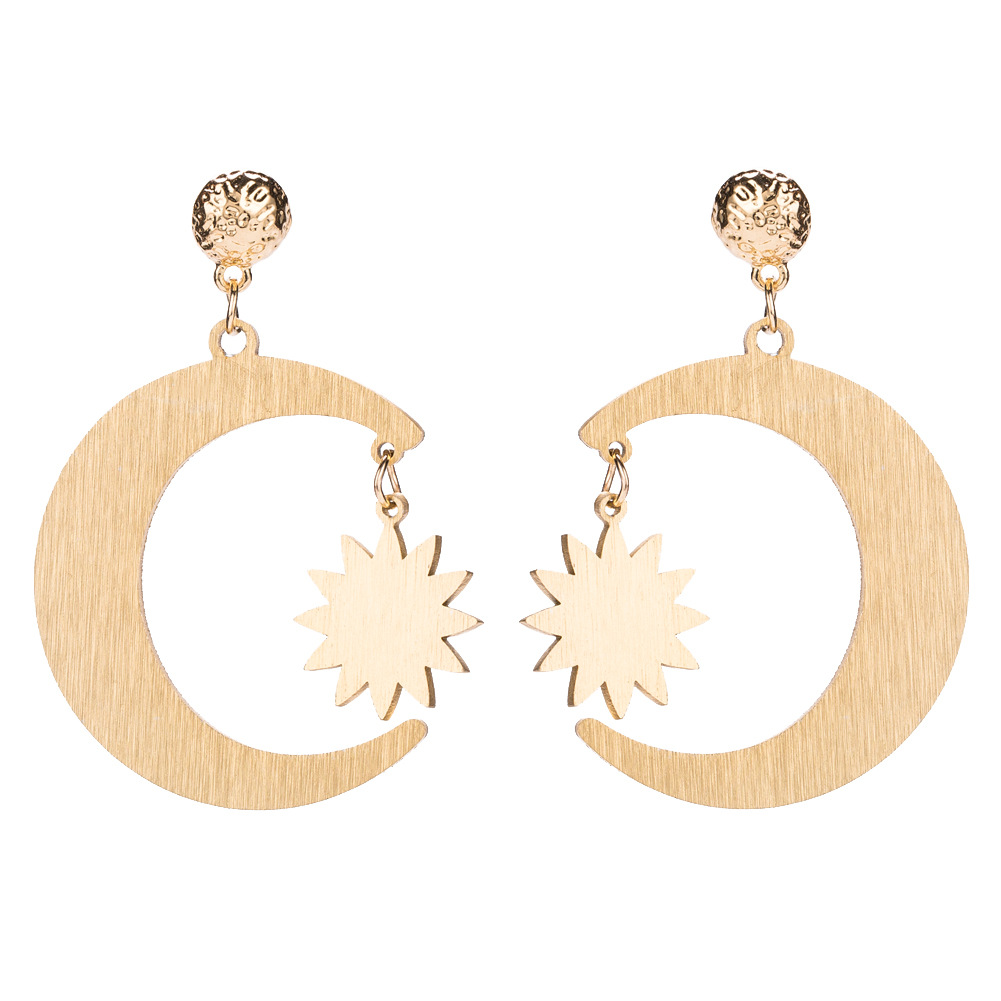 Fashion Alloy plating earring Geometric (Star Moon)NHJE1072-Star Moon