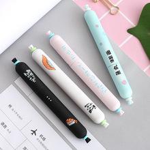 时尚短萌香肠造型中性笔 韩国可爱大容量黑色水笔0.5全针管签字笔