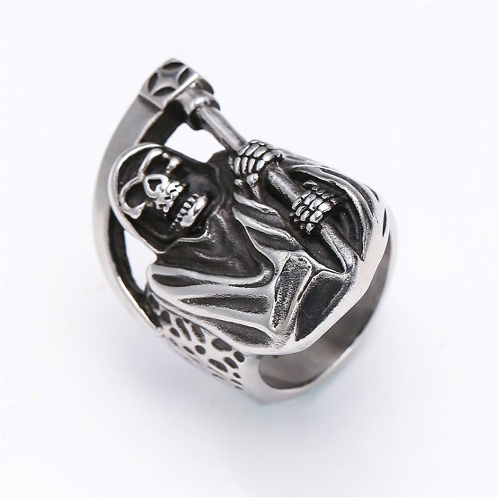 Details about Personality Retro Titanium Steel Ring Death Sickle Skull  Men's Ring Size 7-13