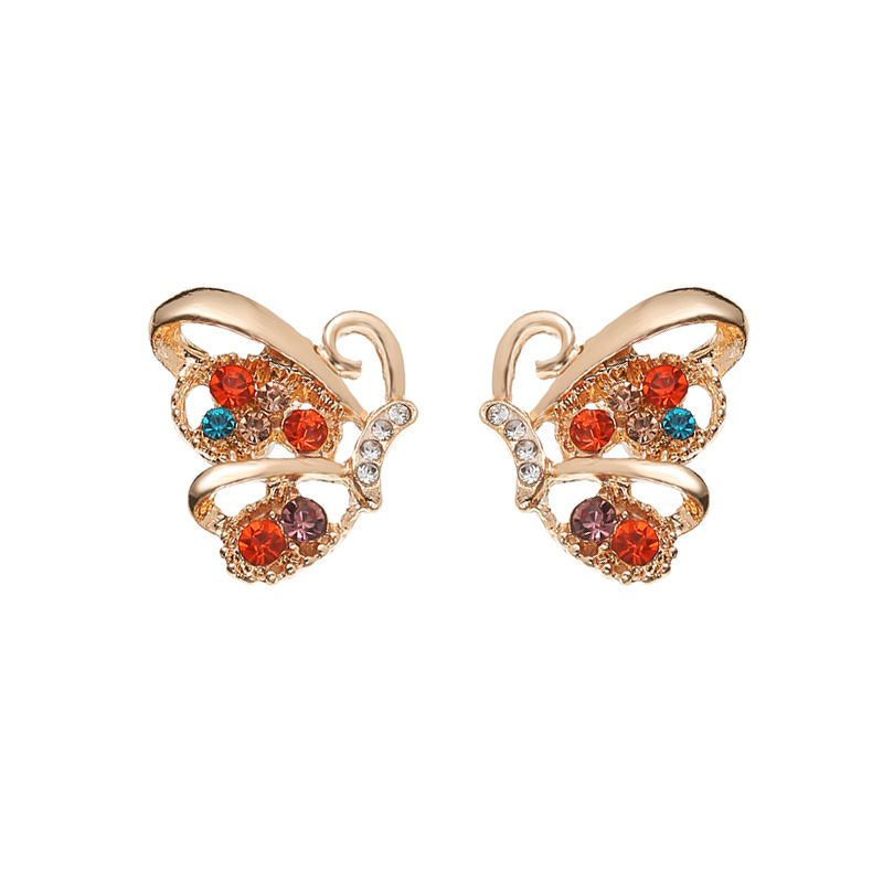 new fashion inlaid colorful diamond butterfly earrings full of diamond hollow butterfly earrings wholesale nihaojewelry NHMO235911