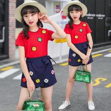 2018新款夏季女童T恤套装短袖裙裤8-14岁女孩甜美公主范休闲套装