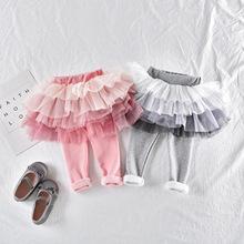 Quần bé gái mùa đông cộng với nhung 2018 quần áo trẻ em mới cho bé quần dài màu gradient váy bé lưới Culottes