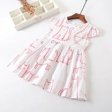 2018韓國童裝女童外貿滿印蝴蝶結長裙中小童外貿短袖公主連衣裙