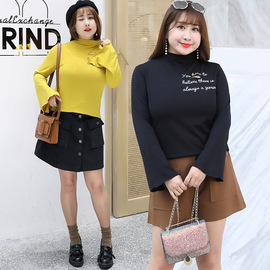 Winter new plus fertilizer to increase fat MM large size women's personality bottoming shirt recruit agent 6718