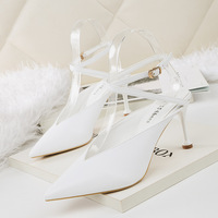 6231-1 Korean fashion sharp pointed shoes with high heels, sexy women's single shoes, thin, thin and slender women's shoes.
