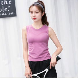 New Style Sleeveless Movement T-shirt Quick-Drying Slim Running Vest Female Summer High-Elastic Tight Was Thin Yoga Top