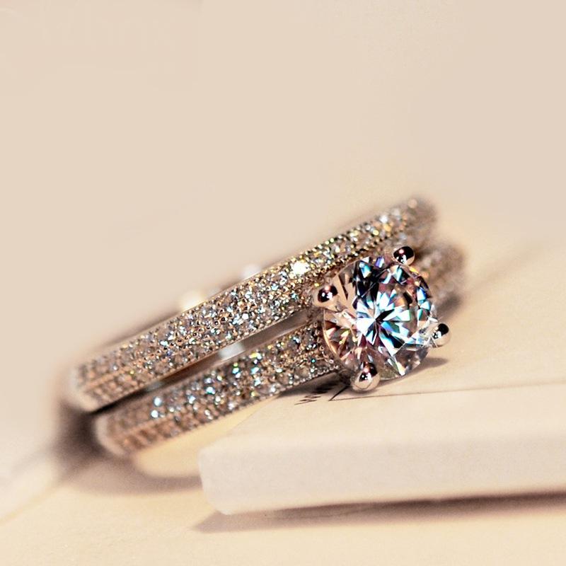 臻荣速卖通热卖微镶套戒仿真钻石求婚戒指 欧美时尚订婚宴会指环