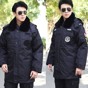 Work clothes cotton-padded clothes winter security cotton-padded clothes men's mid-length coats black warm multi-function cold-proof labor insurance clothes
