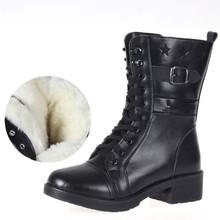 女士冬季配发中筒羊毛靴保暖靴户外休闲时尚厚底马丁靴 T27单靴