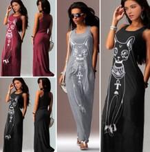 Ebay速卖通秋季爆款 小猫印花无袖灰色长款连衣裙