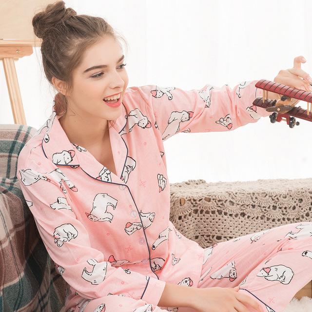2019 thời trang mới dành cho bà bầu nhà máy tùy chỉnh cotton nhà áo len dài tay cho con bú phù hợp với tháng Bộ đồ mặt trăng