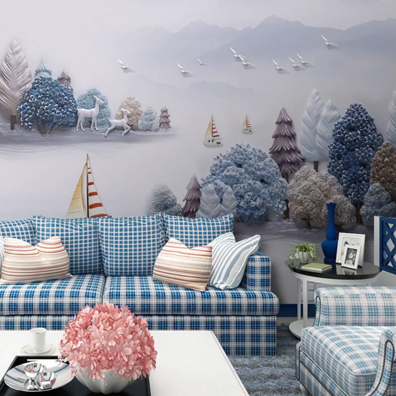 浮世绘山水抽象国画六曲屏装饰画芯高清素材图片库壁画背景墙壁画