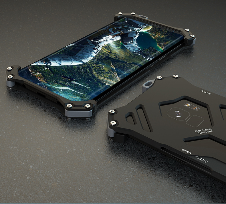 R-Just Gundam Aerospace Aluminum Contrast Color Shockproof Metal Shell Outdoor Protection Case for Samsung Galaxy S9 Plus & Samsung Galaxy S9