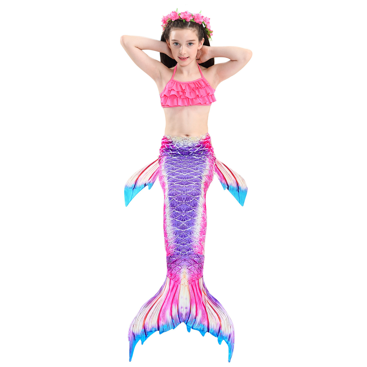 9282493987 898390851 - 4PCS/Set HOT Kids Girls Mermaid Tails with Fin Swimsuit Bikini Bathing Suit Dress for Girls With Flipper Monofin For Swim