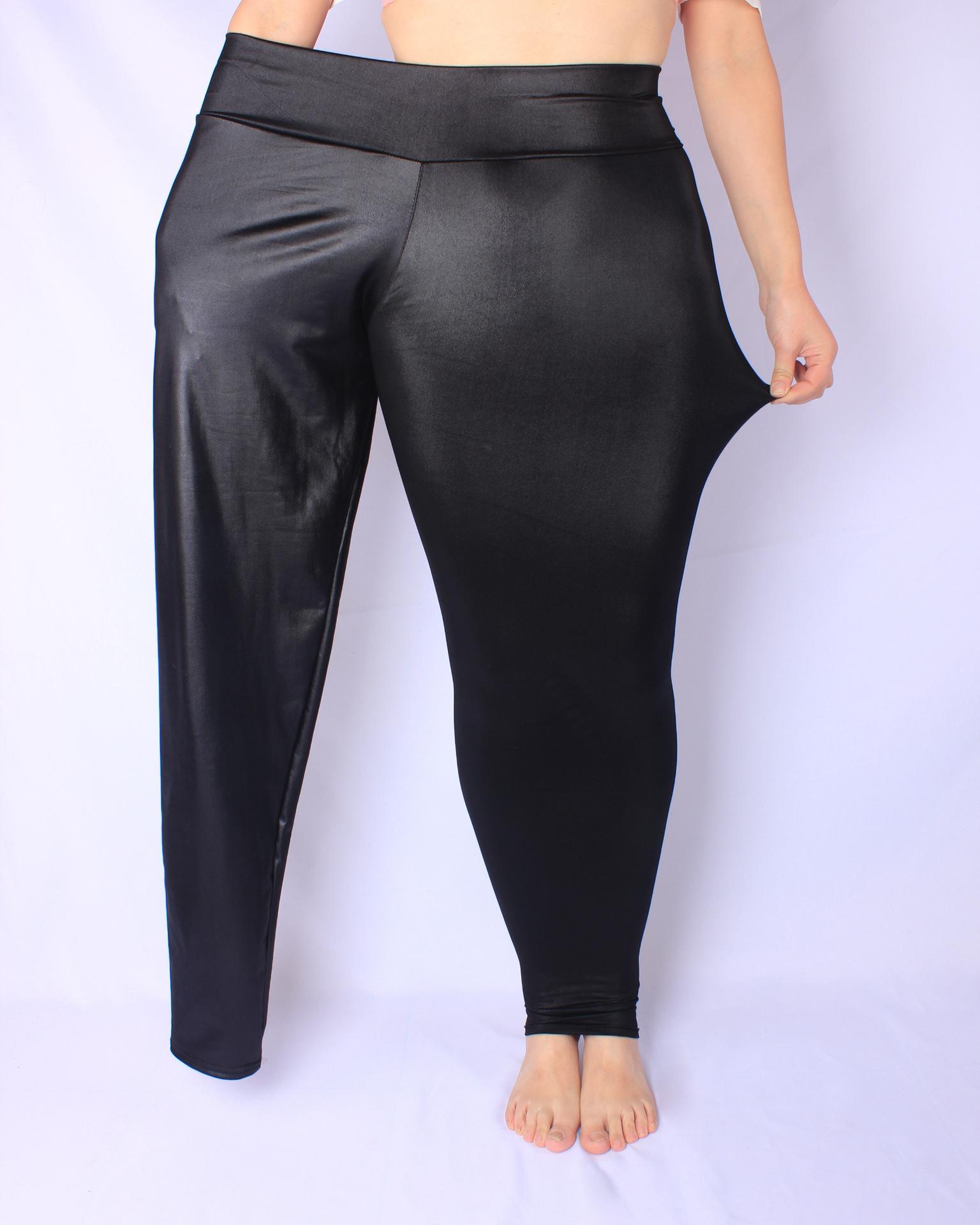 速賣通高腰仿皮褲胖MM彈力大碼小腳褲春季九分打底褲外穿一件代發
