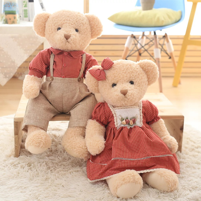 害羞熊田园情侣泰迪熊毛绒玩具 压床婚庆毛娃娃送女友生日礼物