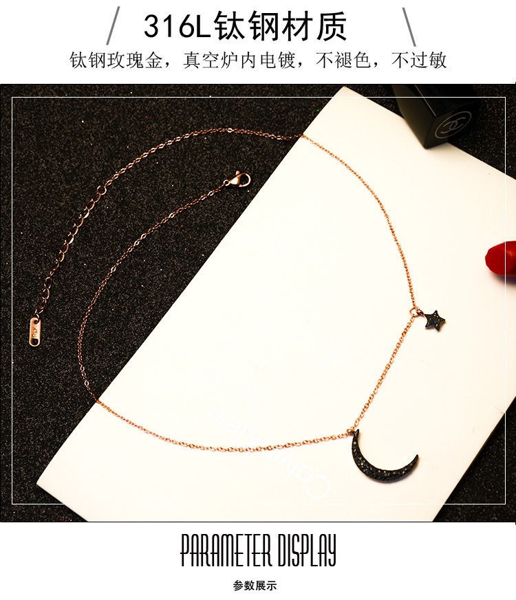 Titanium&Stainless Steel Korea Geometric necklace  (Steel color 40+5cm) NHOK0432-Steel-color-40+5cm