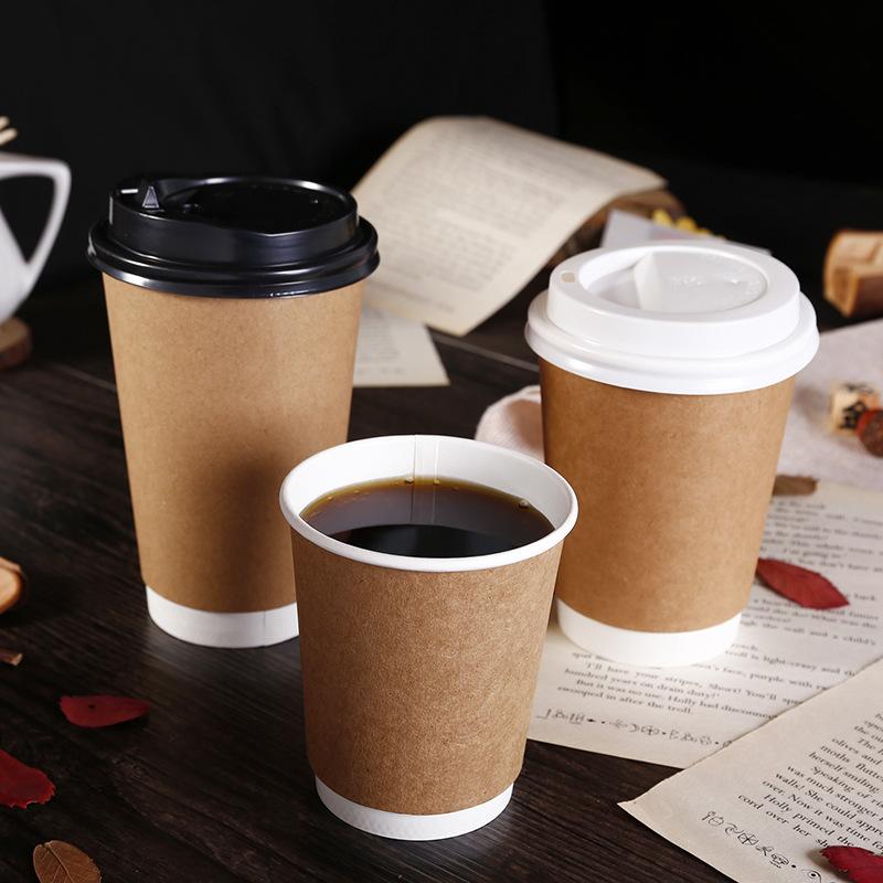 百易现货一次性外卖打包纸杯子定制双层隔热奶茶咖啡牛皮纸杯定做