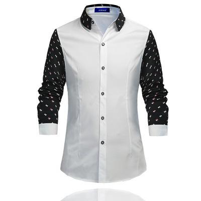 跨境货源2017秋季新款男士长袖衬衫时尚印花衬衣