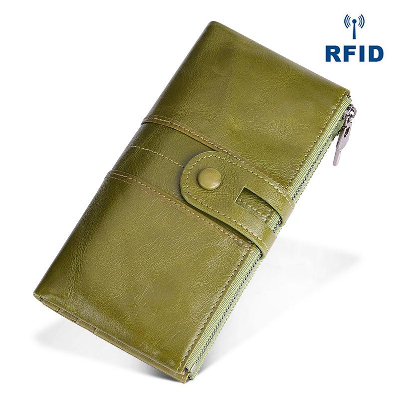 复古真皮女士钱包 韩版时尚手机零钱手拿包 rfid长款钱包 purse