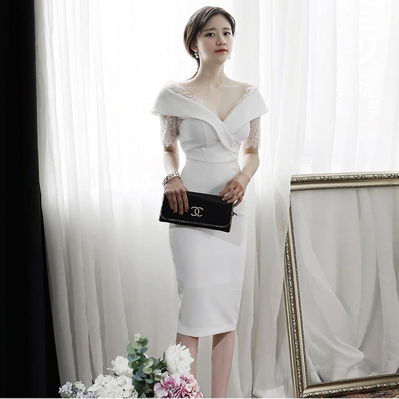 名媛跨境时尚新款夏季职业装白色蕾丝修身性感包臀连衣裙