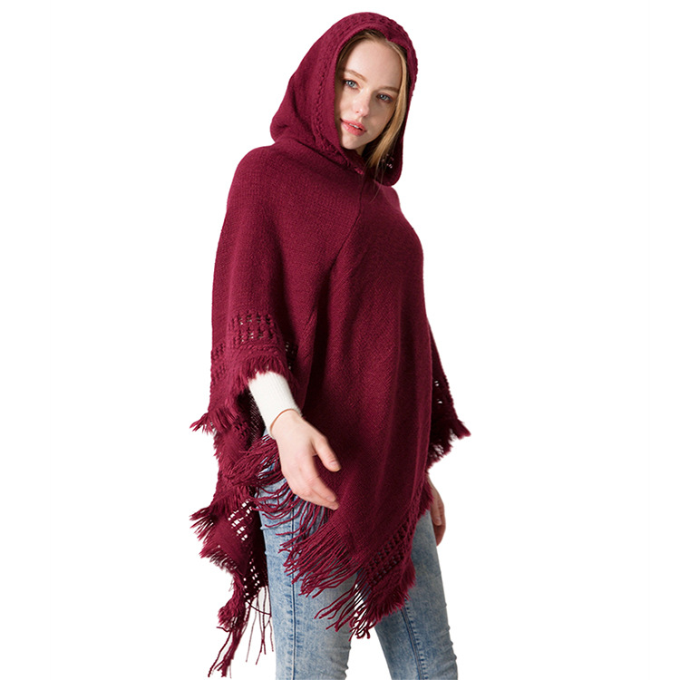 2018 autumn and winter new knitted hooded cloak shawl monochrome pullover cloak sweater hooded shawl manufacturer
