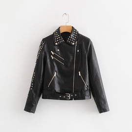 TJJNZ autumn and winter new  Lapel rivet women's leather jacket 2737