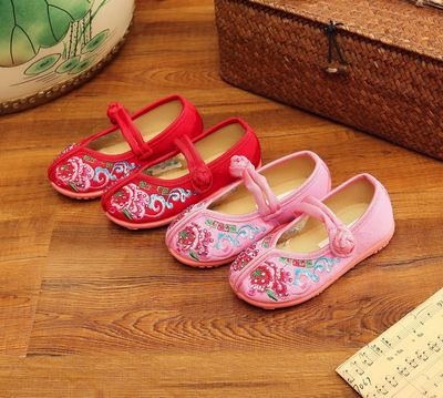 Beijing shoes women Tang shoes children Chinese folk dance hanfu embroidered shoes Hanfu shoes ethnic children shoes