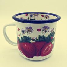 可定制內外滿花logo 高質量復古白色搪瓷杯子 搪瓷廠家