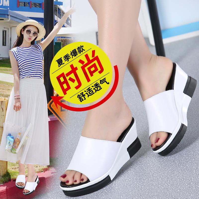 2019年春夏季新款时尚外穿厚底凉拖鞋女韩版平跟一字拖室外女鞋拖