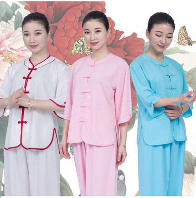 Chinese Tai Chi Clothing Kungfu uniforms women pink blue Short Sleeve Cotton linen wushu performance clothing Tai ji quan martial art training suit