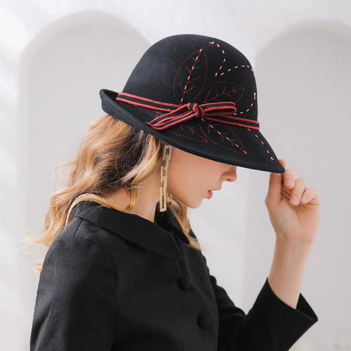 Embroidered hand bound bead flannel Wool Hat Women's felt hat round pass curling edge hat