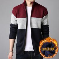 Мужской свитер трикотажный рубашка с замками кардиган удерживающий тепло куртка молодежный корейская версия приталенный осень-зима замшевый утепленный жакет Носить снаружи