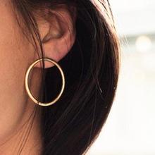 欧美耳环 耳饰 时尚韩版 简约百搭 金色素面圈圈耳环耳钉