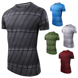 Summer Europe and the United States new men's short-sleeved lattice running fitness clothes slim round collar speed dry sweat absorption T-shirt